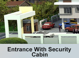 Grand entrance with security cabin